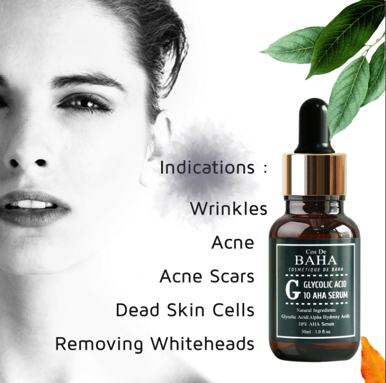 Cos De Baha AHA Glycolic Acid 10% Serum With Witch Hazel - Whitehead Power Liquid, Acne Prone Skin